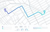 Gps Navigation. Planning Routes. Mobile Navigating Map With Location City Streets. Distance Tracking poster