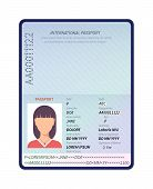 Passport. Sample Data Personal Page, Female International Passport With Photo. Identity Biometric Co poster