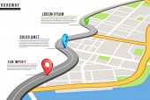 Roadway Infographic. Locations Map, Highway Pinned Points With Information. City Map And Navigation  poster