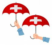 Switzerland Flag Umbrella. Social Security Concept. National Flag Of Switzerland Vector Illustration poster