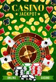 Casino And Online Gambling Games, Jackpot And Fortune Of Wheel. Vector Roulette Surrounded By Golden poster