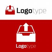 Red Upload Inbox Icon Isolated On White Background. Extract Files From Archive. Logo Design Template poster