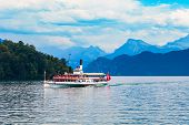 Tourist Cruise Boat On Lucerne Lake Near Lucerne Or Luzern City In Central Switzerland poster