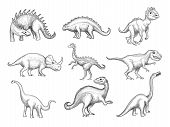 Dinosaurs Collection. Extinction Wild Herbivorous Angry Animals In Paleontology Ages Vector Sketch D poster