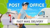Post Office, Fast Mail Delivery, Postman Near Postbox. Vector Mailman In Uniform With Postal Bag And poster