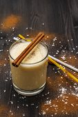 Traditional Winter Eggnog With Milk, Rum And Cinnamon, Sprinkle With Grated Nutmeg. Cocktail Straws, poster