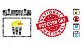 Collage National Popcorn Day Icon And Corroded Stamp Seal With National Popcorn Day Text. Mosaic Vec poster