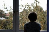 Senior Sad Lonely Old Woman Look Next To  Window Allone Depresse poster
