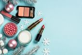Makeup Products, Skincare Product With Christmas Decorations. Idea For Christmas Shopping, Presents. poster