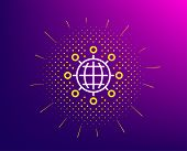 Business Networking Line Icon. Halftone Pattern. International Work Symbol. Global Communication Sig poster