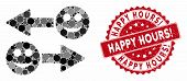 Collage Happy Emotion Exchange Arrows And Grunge Stamp Seal With Happy Hours Exclamation Text. Mosai poster