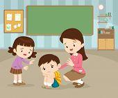 Sad Children Wants To Embrace.teacher Comforting Upset Elementary Her Child.teacher Comforting Sad B poster