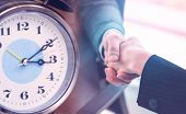 Clock Counting For Deadline For Business Deal And Agreement Handshake For Business Success Time Conc poster