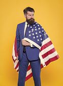 Independence Means Decide According To Law And Facts. Businessman Bearded Man In Formal Suit Hold Fl poster