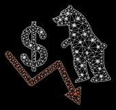 Flare Mesh Bear Dollar Trend With Glow Effect. Abstract Illuminated Model Of Bear Dollar Trend Icon. poster