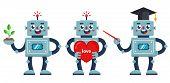 Set Of Positive Robots. A Robot Teacher, A Nerd Robot, And A Robot With A Big Heart. Flat Vector Cha poster