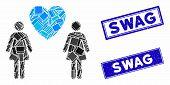 Mosaic Lesbi Love Pair Pictogram And Rectangle Swag Watermarks. Flat Vector Lesbi Love Pair Mosaic P poster