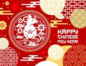 Chinese New Year Vector Design Of Lunar Zodiac Rat Or Animal Horoscope Mouse Symbol With Papercut Pa poster