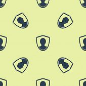Blue User Protection Icon Isolated Seamless Pattern On Yellow Background. Secure User Login, Passwor poster