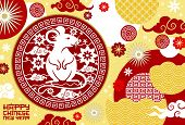 Chinese New Year Lunar Horoscope Rat Vector Design With Red And White Papercut Pattern Of Plum Flowe poster
