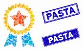 Mosaic Reward Seal Pictogram And Rectangle Pasta Stamps. Flat Vector Reward Seal Mosaic Pictogram Of poster