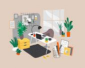 Scandinavian Or Scandinavian Style Interior. Hand Drawing Style Home Office. Cozy Interior With Home poster
