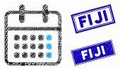 Mosaic Calendar Month Pictogram And Rectangular Fiji Seal Stamps. Flat Vector Calendar Month Mosaic  poster