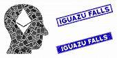 Mosaic Ethereum Thinking Head Pictogram And Rectangular Iguazu Falls Watermarks. Flat Vector Ethereu poster