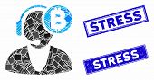 Mosaic Bitcoin Operator Pictogram And Rectangular Stress Stamps. Flat Vector Bitcoin Operator Mosaic poster
