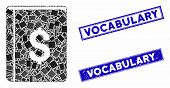 Mosaic Dollar Book Pictogram And Rectangle Vocabulary Watermarks. Flat Vector Dollar Book Mosaic Pic poster