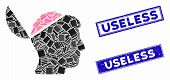Mosaic Open Brain Pictogram And Rectangular Useless Seal Stamps. Flat Vector Open Brain Mosaic Picto poster