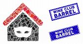 Mosaic Private Party House Pictogram And Rectangular Wine Club Barrel Seals. Flat Vector Private Par poster