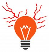 Electric Sparks Bulb Raster Icon. Flat Electric Sparks Bulb Pictogram Is Isolated On A White Backgro poster