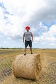 Handsome Young Man In Red Wig And Glasses Stands On The Round Haystack Among The Field poster