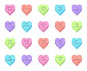 Love Candy Hearts. Valentines Day Treats, Sweet Heart Candies And Romantic Love Traditional Sweets.  poster