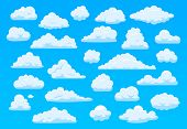 Cartoon Sky Clouds. Fluffy White Clouds In Blue Sky, Bright Cloudscape Weather Atmospheric Panorama. poster