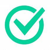 Check Mark Sign. Checklist Green Marking Logo, Check Web Pictogram, Positive Checked Confirm And Acc poster