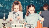 Little Children. Science. Little Kids Scientist Earning Chemistry In School Lab. Biology Experiments poster