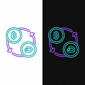Green And Purple Line Cryptocurrency Exchange Icon Isolated On White And Black Background. Bitcoin T poster