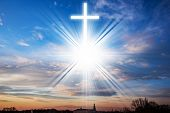 Glowing Crglowing Cross . Easter Background .    Christian Cross Against The Sky Oss . Easter Backgr poster