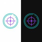 Green And Purple Line Target Sport For Shooting Competition Icon Isolated On White And Black Backgro poster