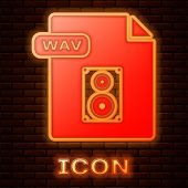 Glowing Neon Wav File Document. Download Wav Button Icon Isolated On Brick Wall Background. Wav Wave poster