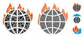 Global Warming Fire Icon Composition Of Joggly Items In Different Sizes And Color Tinges, Based On G poster