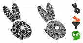 Rabbit Head Icon Composition Of Joggly Items In Different Sizes And Color Hues, Based On Rabbit Head poster