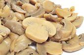 stock photo of crimini mushroom  - sliced mushrooms on a white background - JPG