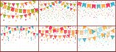 Birthday Party Bunting And Confetti. Color Paper Streamers, Confettis Explosion And Buntings Flags.  poster
