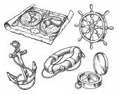 Set Of Isolated Sketch Of Sea Equipment. Ocean Compass And Vintage Map, Hand Drawn Ship Or Boat Stee poster