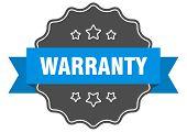 Warranty Blue Label. Warranty Isolated Seal. Warranty poster
