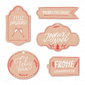 Merry Christmas In Different Languages. Paper Gift Tags Set. Feliz Navidad In Spanish, Frohe Weihnac poster