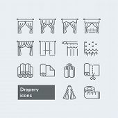 Elements For Drapery And Curtain Shop. Vector Line Icons With Drapes. Different Styles Of Draperies, poster